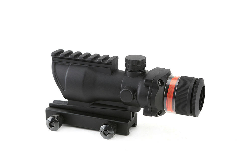 Hunting Tactical 4x32 Riflescope Red Optics Fiber Acog Style Rifle Scope New
