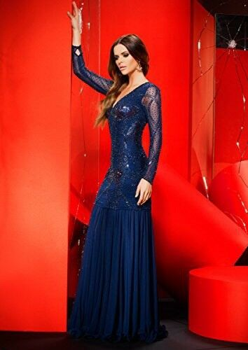 Stile Stile Stile unico di 2 Forever Lungo-Corto Blu Scuro Con Perline Vestito Abito da ballo maniche lunghe 8UK 270bfe