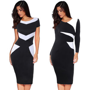Womens-Elegant-Colorblock-Contrast-Patchwork-Work-Office-Business-Sheath-Dress
