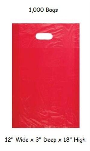 "Plastic Bags 1000 Red Shopping Merchandise High Density 12/"" x 3/"" x 18/"" Diecut"