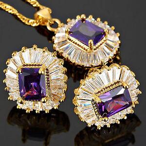 Schmuck-Jewelry-Set-Purple-Amethyst-Emerald-Necklace-Pendant-Earrings