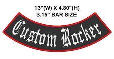"Custom Embroidered 13"" Bottom Rocker Biker MC Club Vest Sew on Patch"