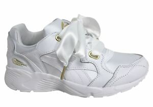 1e3b551b650 Puma Prevail Heart White Bow Lace Up Womens Lo Casual Trainers ...