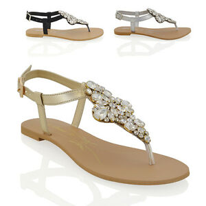 b26d13be0150 Details about Womens Flat T-Bar Sparkly Sandals Ladies Rhinestones Holiday  Toe Post Shoes Size