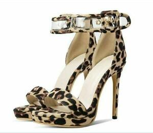 Womens-Comfort-Open-Toe-Ankle-Strap-Out-Leopard-Print-Shoes-Size-5-15