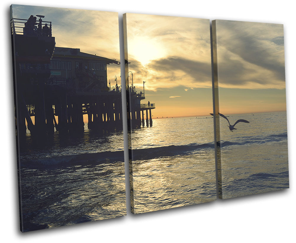 Cadeau spécial à vous spécial Beach TOILE Sunset Pier Landscapes TREBLE TOILE Beach murale ART Photo Print 799acf
