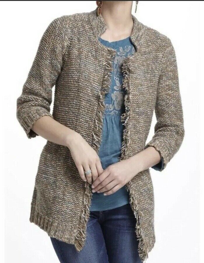 ANTHROPOLOGIE SPARROW Marled Peat Cardigan sweater Large brown teal fringe Small