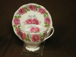 Queen-Ann-Bone-China-Lady-Alexander-Rose-Cup-and-Saucer-Pink-Roses-Gold-Trim