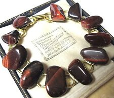 Pretty VINTAGE Jewellery RED/Brown Agate Pebble Stone Bead Celtic Link BRACELET