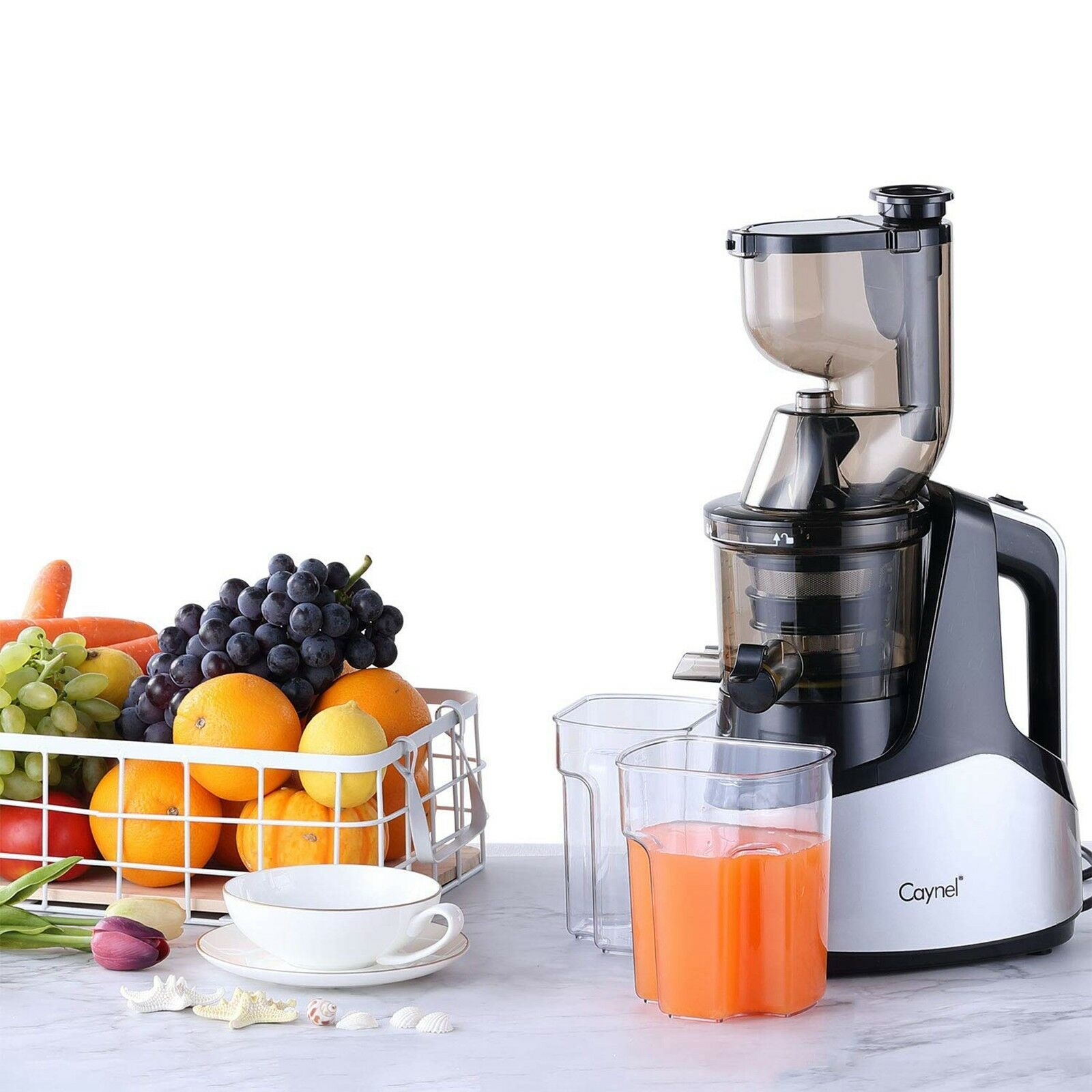 Slow Masticating Juicer Cold Press Extractor with 3 Wide Chute for Fruits Sliver