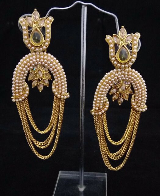 Ethnic Indian Bollywood Celebrity 18K CZ Gold Pearl Dangle Earrings 2pc Gift Set