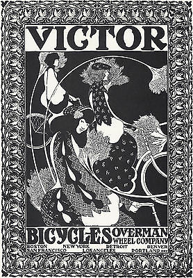 1960 Poster Print Victor Bicycles Overman Wheel Will H Bradley Art Nouveau Ad Ebay
