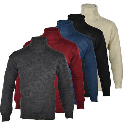Mens Roll Turtle Polo Funnel Neck Jumper Knitted Sweater Winter Warm Top M L XL