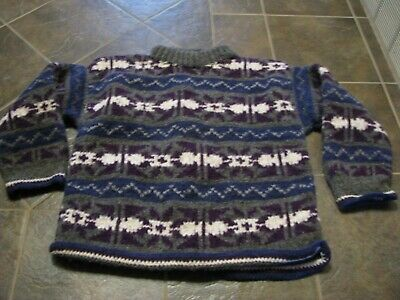 Rasta Ethnic Native American Wool Sweater Hoodie Made in Ecuador Black//Blue M