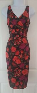 Womens-Lk-Bennett-Dress-size-8-black-red-floral-100-Silk-pencil-party-occasion