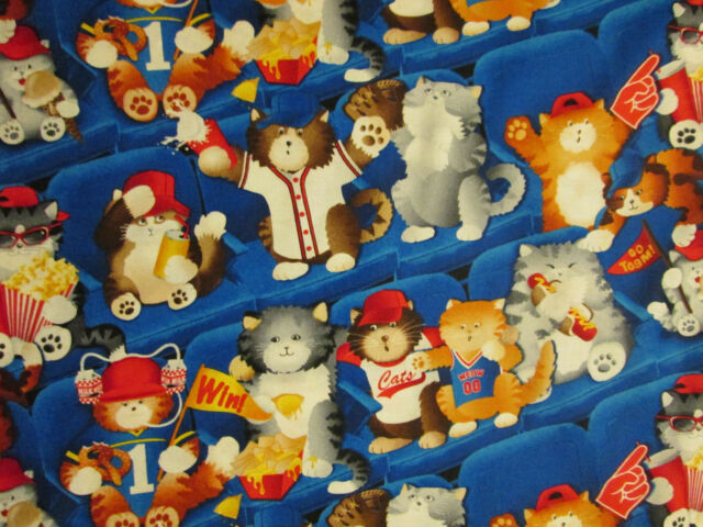 CATS SPORTS BASEBALL FANS AT GAME COTTON FABRIC FQ