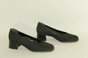 Black-Suede-ECCO-Slip-On-Square-Toe-Casual-Court-Mid-Heel-Shoes-Size-4-5-37-5