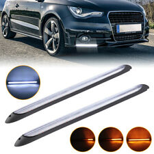 2pcs Drl Car Led Strip Daytime Running Light White Yellow Turn Signal Sequential