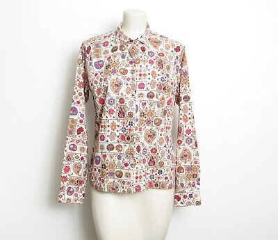 Vintage Look and Fashion Vintage Look Patterned Button Up Shirt Birds /& Floral Patterned Sangria Red Button Down Shirt M UNISEX