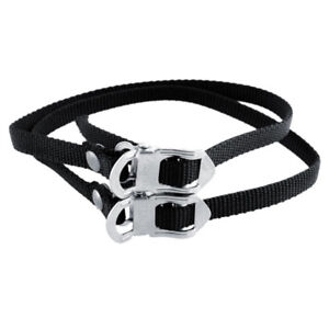 Black Cycling Bicycle Bike Foot Pedal Straps Fixed Anti-slip Toe Clips BB