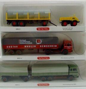 Wiking-Neuh-1e-1-87-039205-Unimog-Rungenanh-051502-Pritschenlastzug-043306-LKW