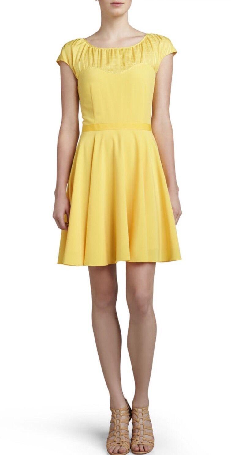 NWT Z Spoke Zac Posen Cap Sleeve A-Line Yellow Sweetheart Dress Size 10