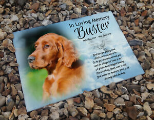 Headstone-memorial-plaque-grave-marker-ceramic-tile-Red-setter-dog-any-breed
