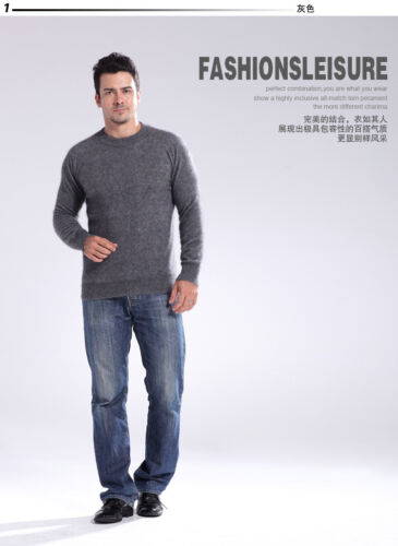New 100/% Mink Cashmere Sweaters Fashion Men/'s Crewneck Pullovers Knitted Sweater