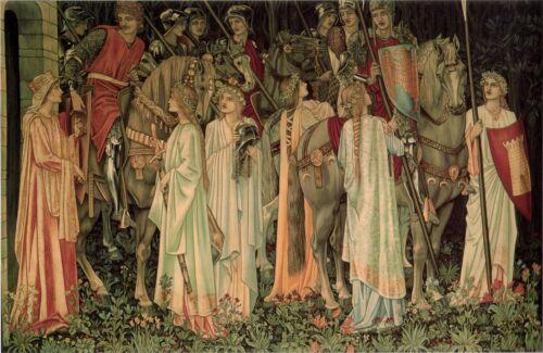 Die Heilige Gral Ritter Arthus Legende Edward Burne-Jones Leinen Poster Druck