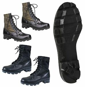 Lona Bota de punta nylon estilo jungla militar cuero con de y la con negro en OA tacón de 4n4AxqwYB