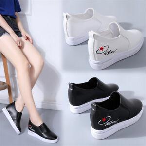 e214e09c408 Fashion Women Hidden Wedge Heel Sneaker Round Toe Casual Athletic ...