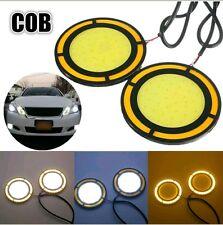 2x High Power COB Round White DRL Amber Turn fog Light For universal Cars