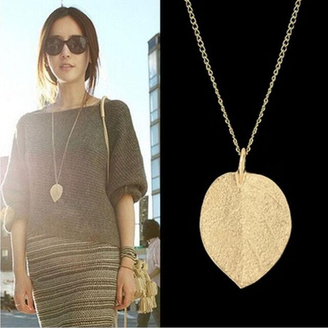 Women Graceful Golden Leaf Exquisite Pendant Necklace Long Sweater Chain OZ