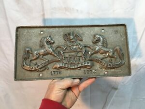 Vtg Cast Aluminum 1776-1976 Pennsylvania Coat of Arms Bicentennial License Plate
