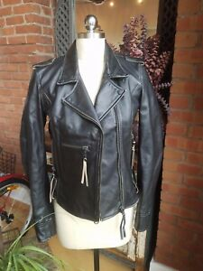 dba64872b Details about CYCLE Womens Black Genuine Leather Motorcycle Biker Jacket  Made in Italy S NWT