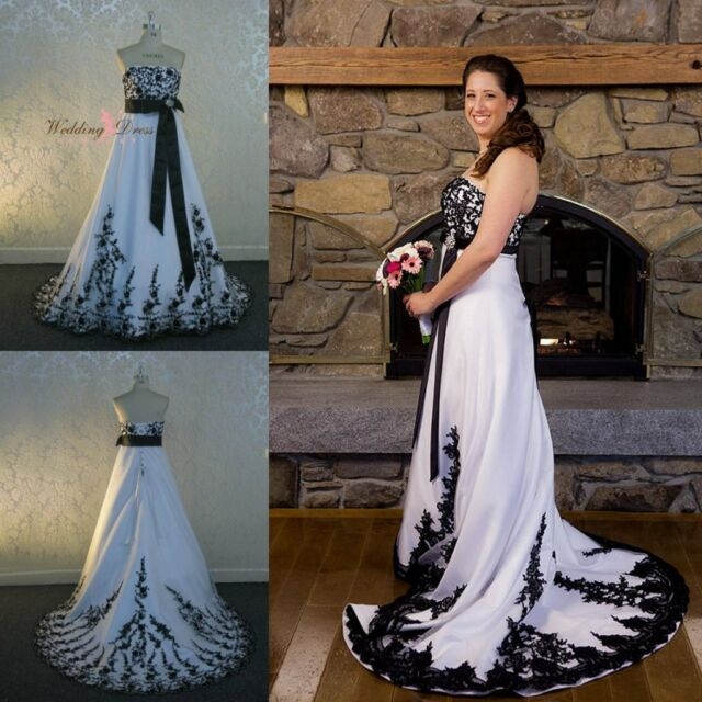 Custom Made Wedding Dresses A-Line Gothic Black and White Bridal Gowns Plus  Size