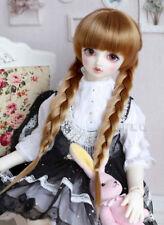 8-9 1//3 BJD Doll Hair Wig Pure Black Medium Long Braids Bangs Cute Styled HUAL-a