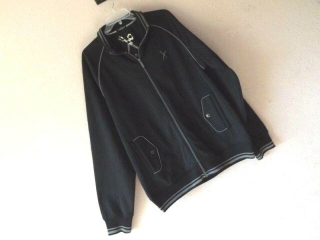 New MARC ECKO CUT & SEW XL TRACK JACKET Baseball Black Gray PINSTRIPE ZIP Pocket
