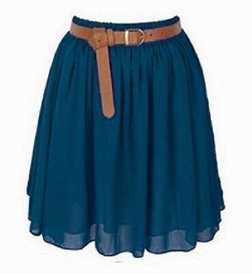 Black Chiffon Women Girl Short Mini Dress Skirt Pleated Retro Elastic Waist Lady