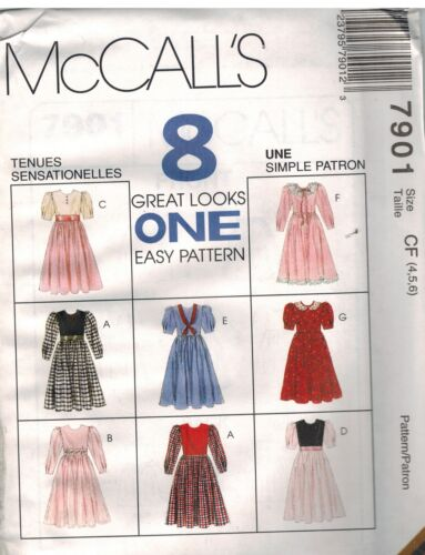 7901 UNCUT McCalls Sewing Pattern Girls 8 looks Dress Made Easy Casual Party OOP