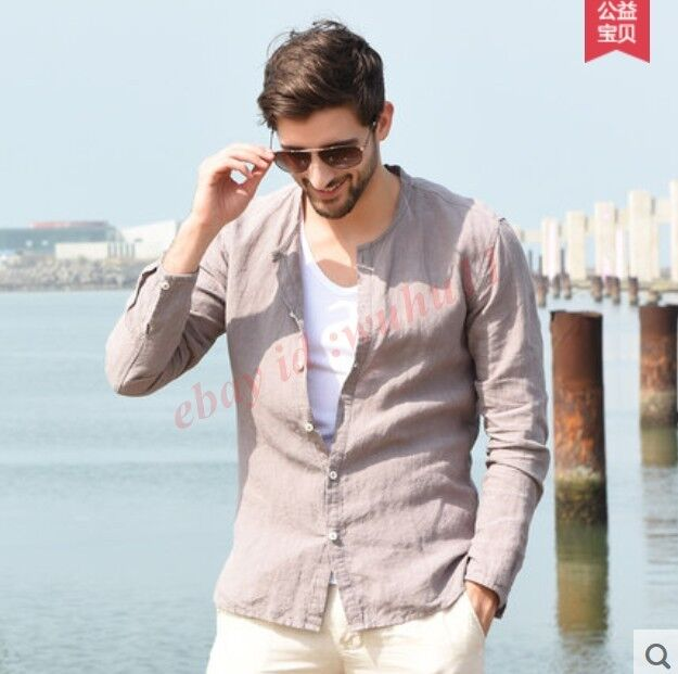 Fashion New Mens Cotton Linen Stand Collar Slim Breasted Fit Long Sleeve T-Shirt