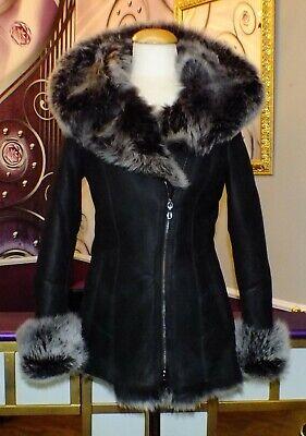 Luxus Designer Damen echter Lammfellmantel  Toskana Fell mit Kapuze Gr.34 bis 40