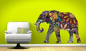 GRAND-Abstrait-elephant-Complet-Couleur-Autocollant-Mural-Vinyle-Decalcomanie