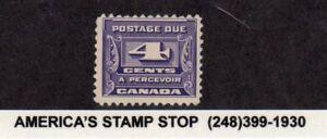 1933-1934 Canada SC J13 MH Mint - Postage Due, 4c Dark Violet