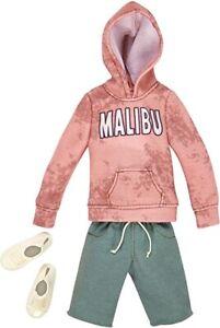 Barbie Ken Fashion Pack Malibu Pink Sweat Hoodie Green Shorts Shoes FKT48 NEW