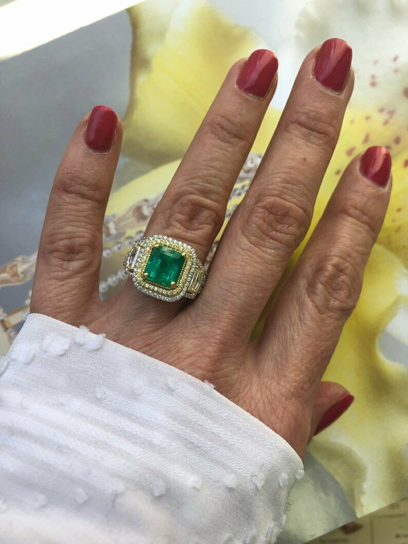 Octagonal Step Cut Colombian Green Emerald 6.CT Center Stone Beautiful Halo Ring