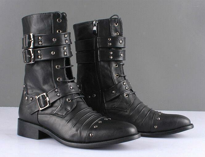 Mens Ankle Boots Studded Rivet Military Buckle Pointy toe Combat Boots Shoes New