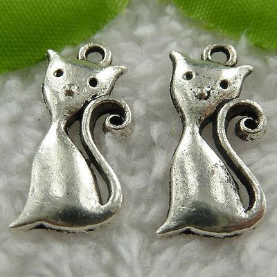 Free Ship 220 pcs tibet silver cat charms 25x13mm #551