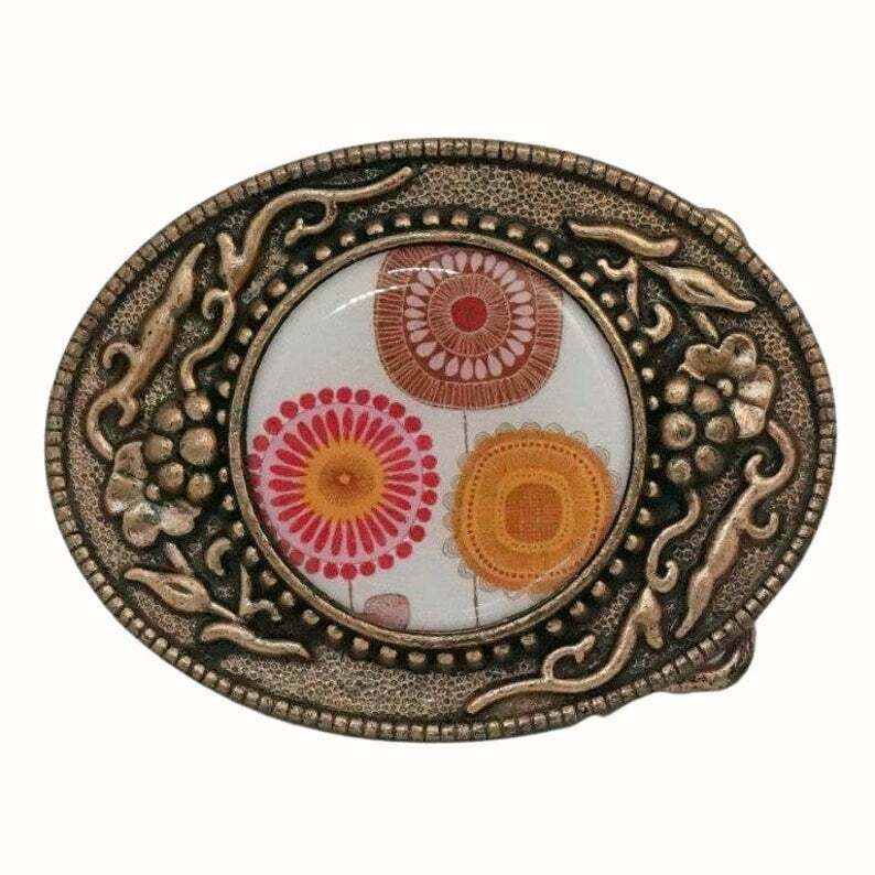 OVAL HAND DECORATED COPPER FINISH BELT BUCKLE FLORAL ORANGE RED BROWN