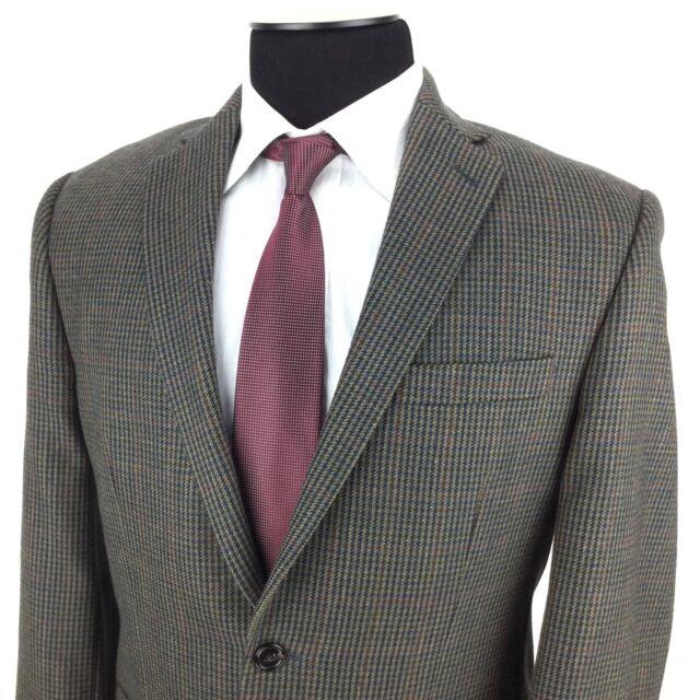 RALPH LAUREN Mens 40R Green Blue Red Houndstooth 2-Button Wool Sport Coat Jacket